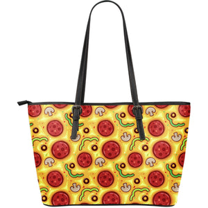 Pizza Texture Pattern Large Leather Tote Bag