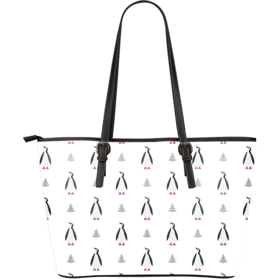 Penguin Pattern Large Leather Tote Bag