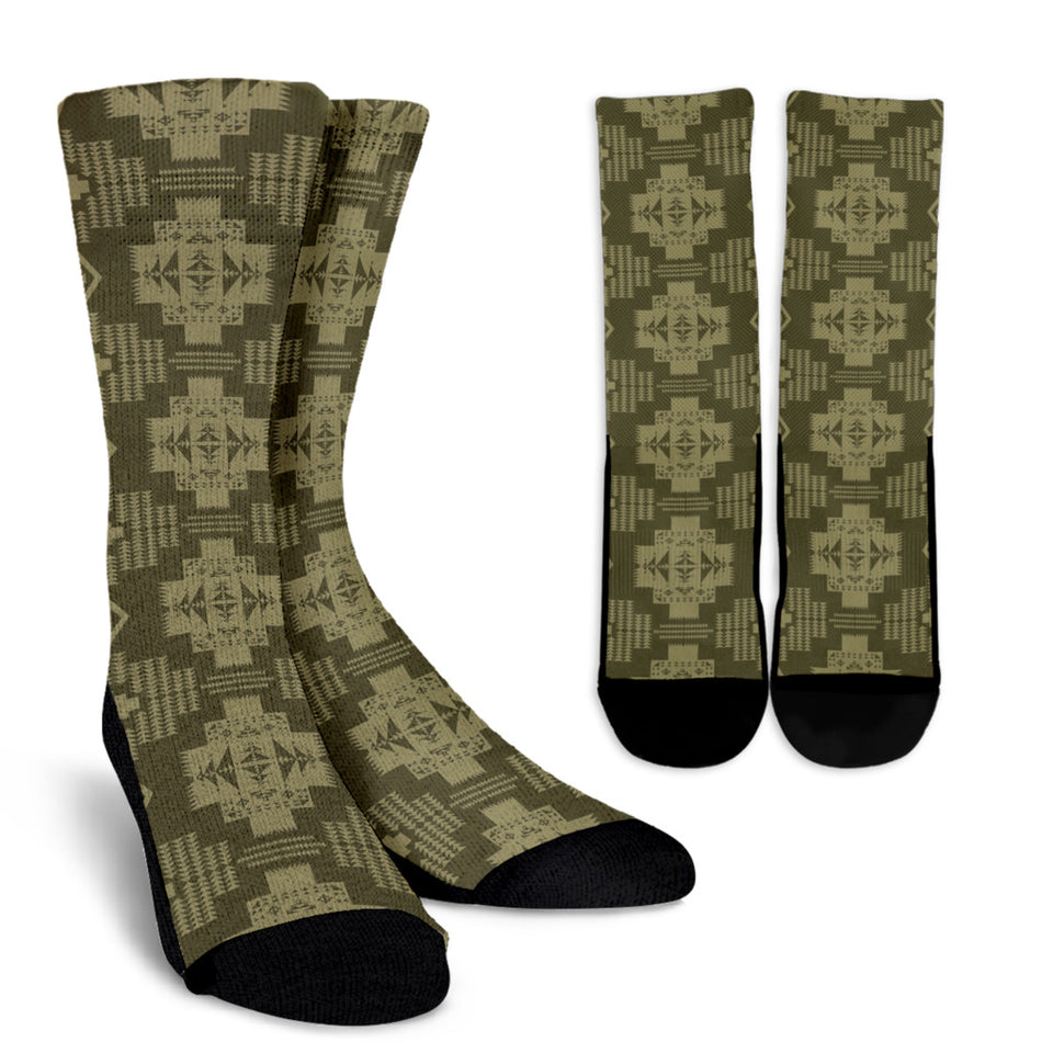 Seven Tribes Brown And Tan Crew Socks