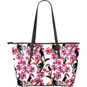 Toucan flower design pattern Large Leather Tote Bag