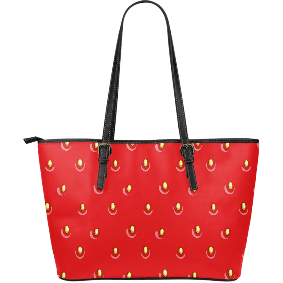 strawberry texture skin pattern Large Leather Tote Bag