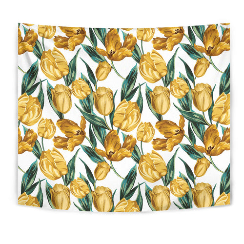 yellow tulips pattern Wall Tapestry