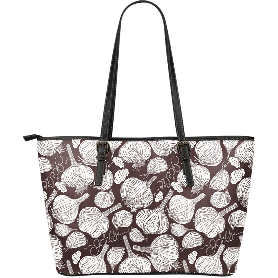 Garlic Bulb Dark Background Large Leather Tote Bag