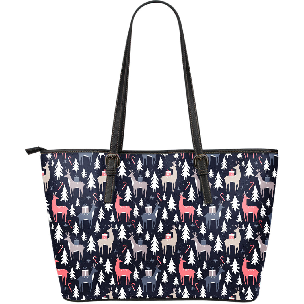 Deers Winter Christmas pattern Large Leather Tote Bag