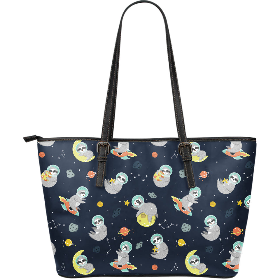 Cute sloth astronaut star planet rocket pattern Large Leather Tote Bag