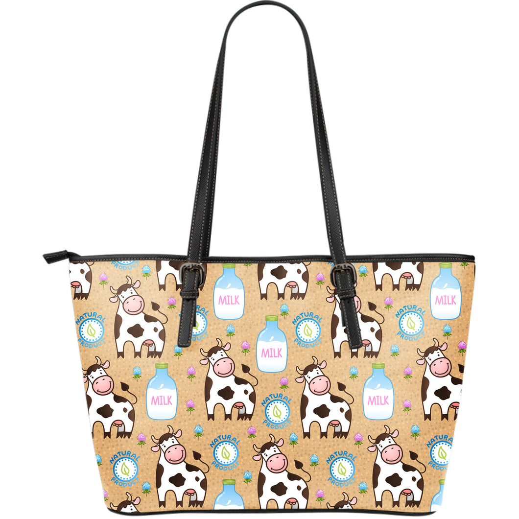 Cow bottle of milk pattern Large Leather Tote Bag