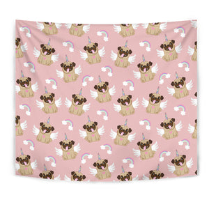 Cute Unicorn Pug Pattern Tapestry