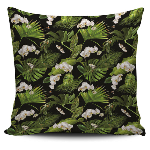 White orchid flower tropical leaves pattern blackground Pillow Cover