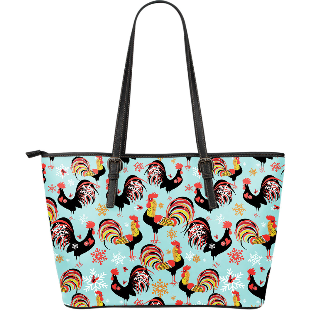 Rooster Chicken Cock Snowfalke Large Leather Tote Bag