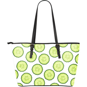 Cucumber slices pattern Large Leather Tote Bag