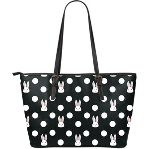 Cute white rabbit polka dots black background Large Leather Tote Bag