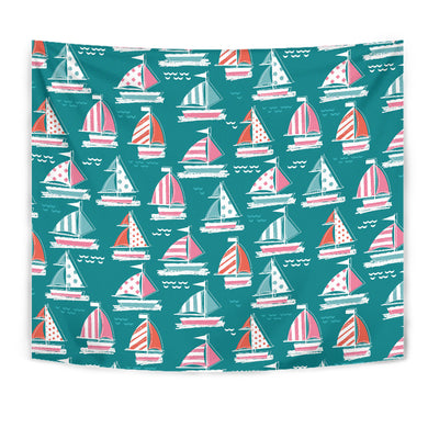 Cute Sailboat Pattern Wall Tapestry