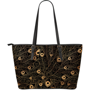 Gold Peacock Feather Pattern Large Leather Tote Bag