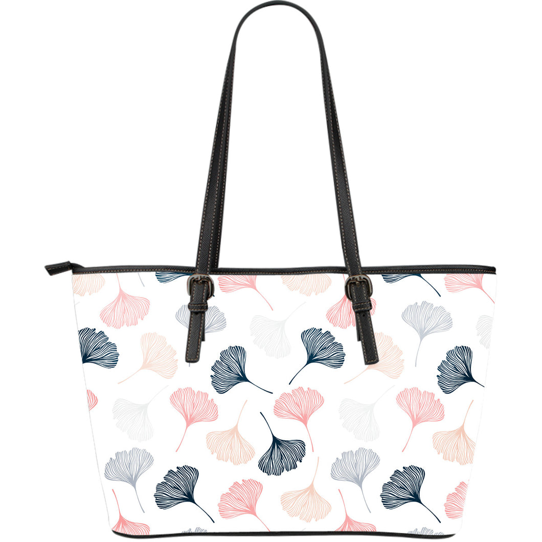 Black Gray Cream Coral Ginkgo Leaves Pattern Large Leather Tote Bag