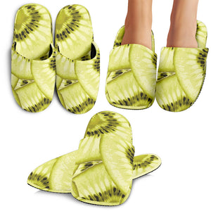 Sliced Kiwi Pattern Slippers