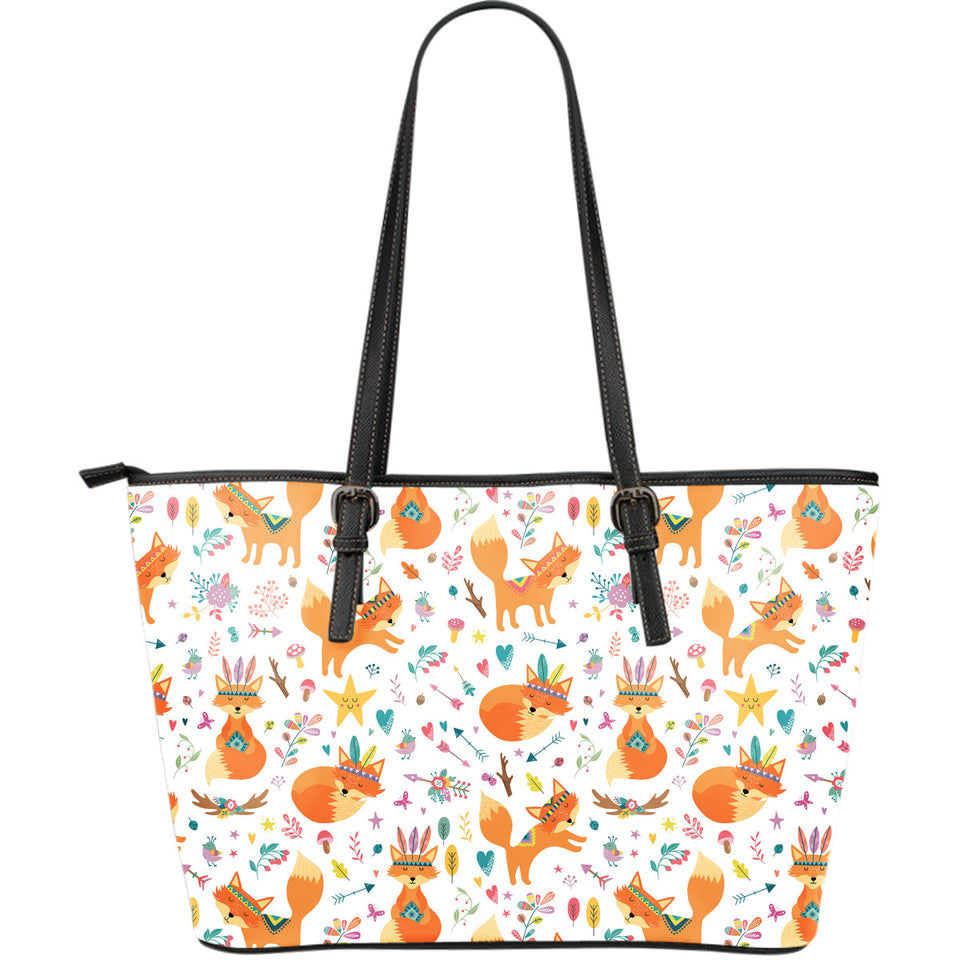 cute tribal fox pattern Large Leather Tote Bag