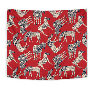 Zebra abstract red background Wall Tapestry