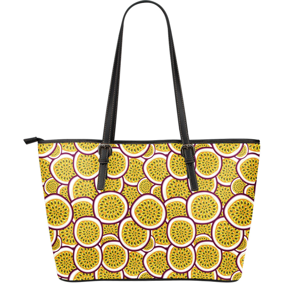 Passion Fruits Slice Pattern Large Leather Tote Bag