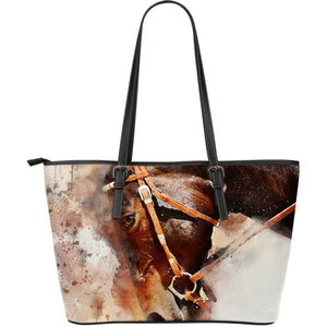 Watercolour Horse Large Leather Handbag