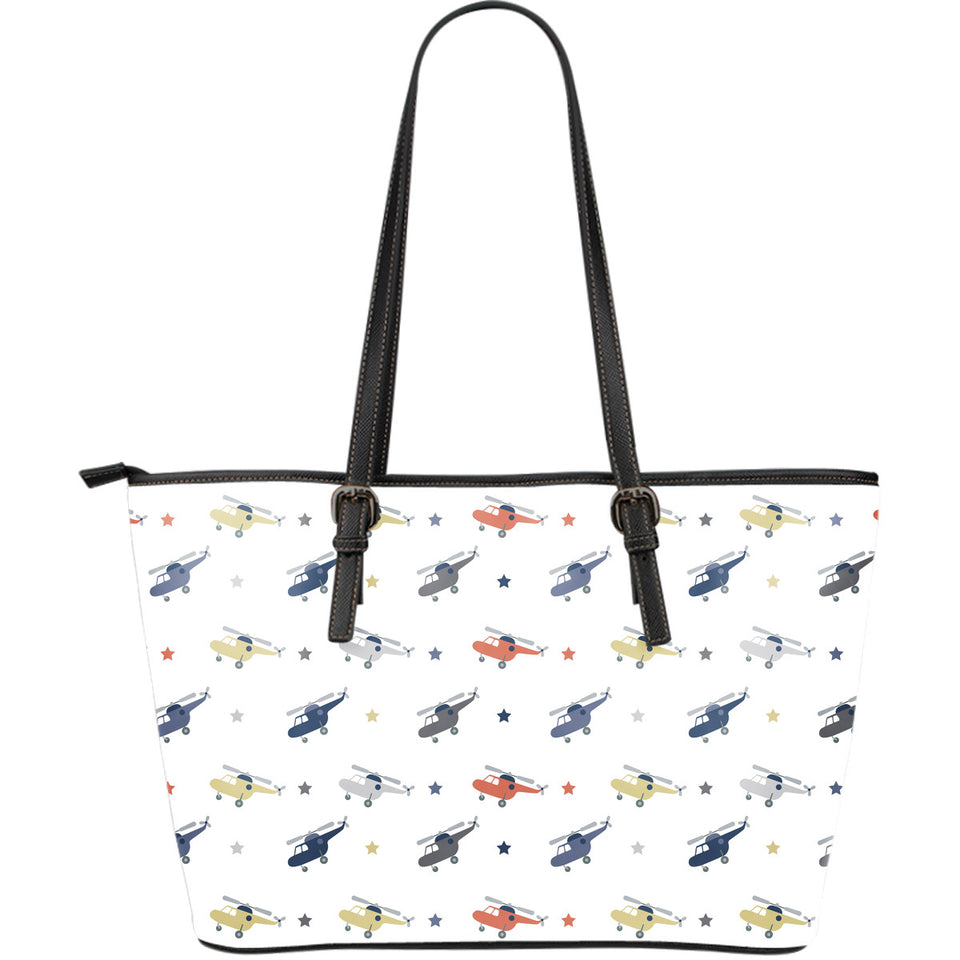 Cute helicopter star pattern Large Leather Tote Bag