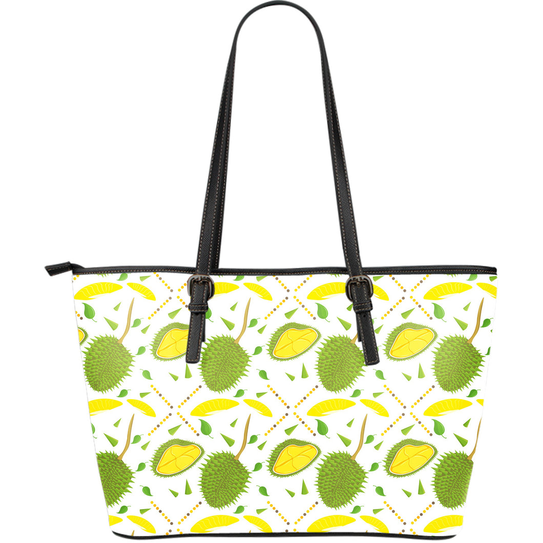 Durian Pattern Background Large Leather Tote Bag