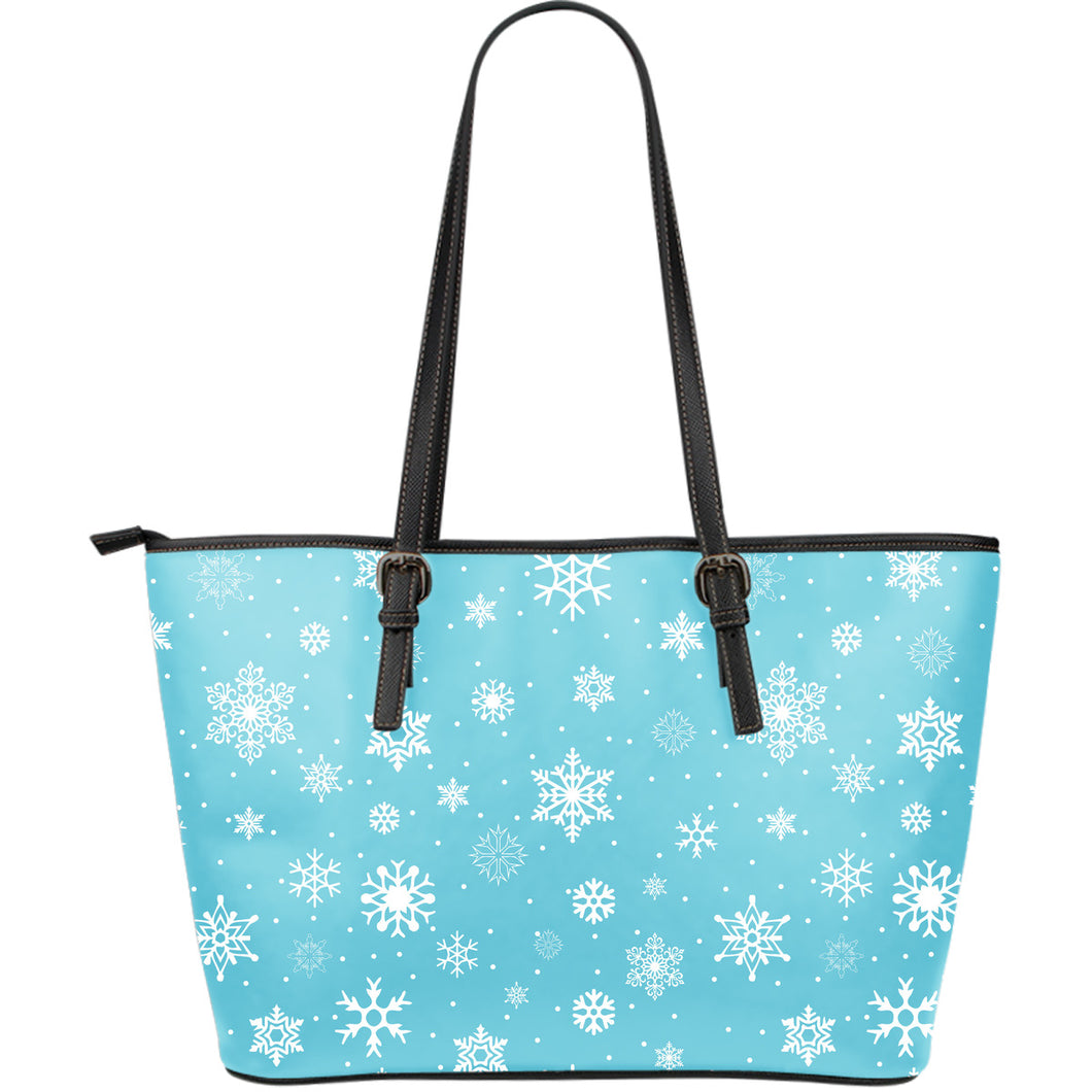 Snowflake Pattern Blue Background Large Leather Tote Bag