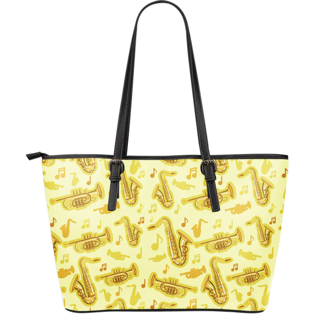 Saxophone Cornet Pattern Yellow Background Large Leather Tote Bag
