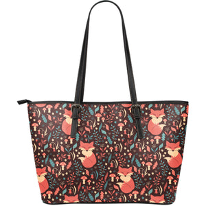 Fox Leaves Mushroom Pattern Large Leather Tote Bag