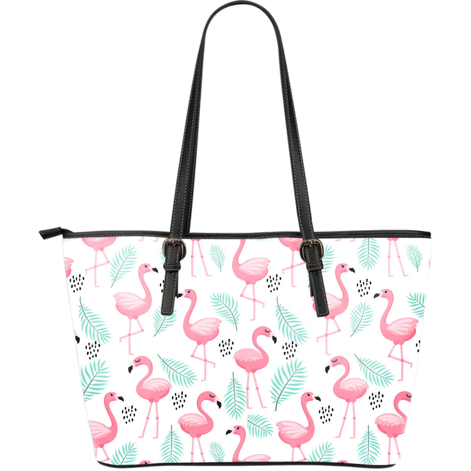 Cute flamingo pattern Large Leather Tote Bag