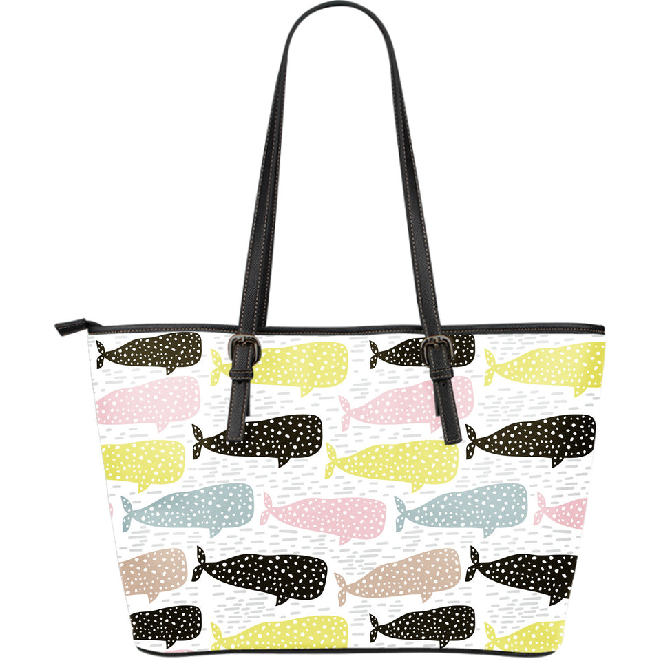 Whale dot pattern Large Leather Tote Bag