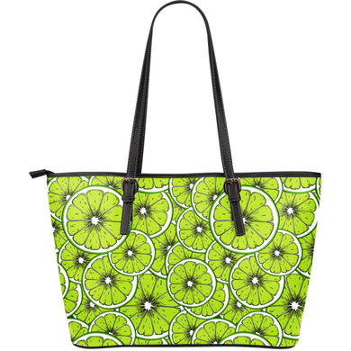 Slices of Lime design pattern Large Leather Tote Bag