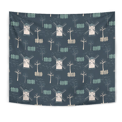 Windmill Tree Pattern Wall Tapestry