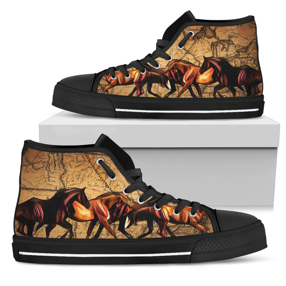 Horse Black Men'S High Top