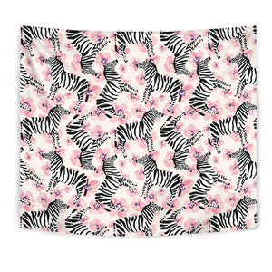 Zebra Pink Flower Background Wall Tapestry