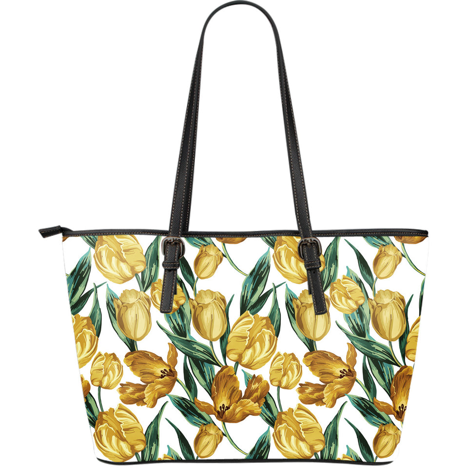 yellow tulips pattern Large Leather Tote Bag