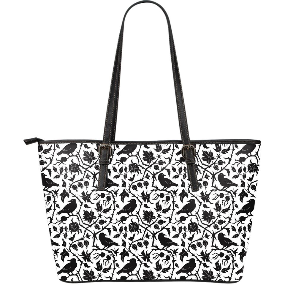 Crow Dark Floral Pattern Large Leather Tote Bag