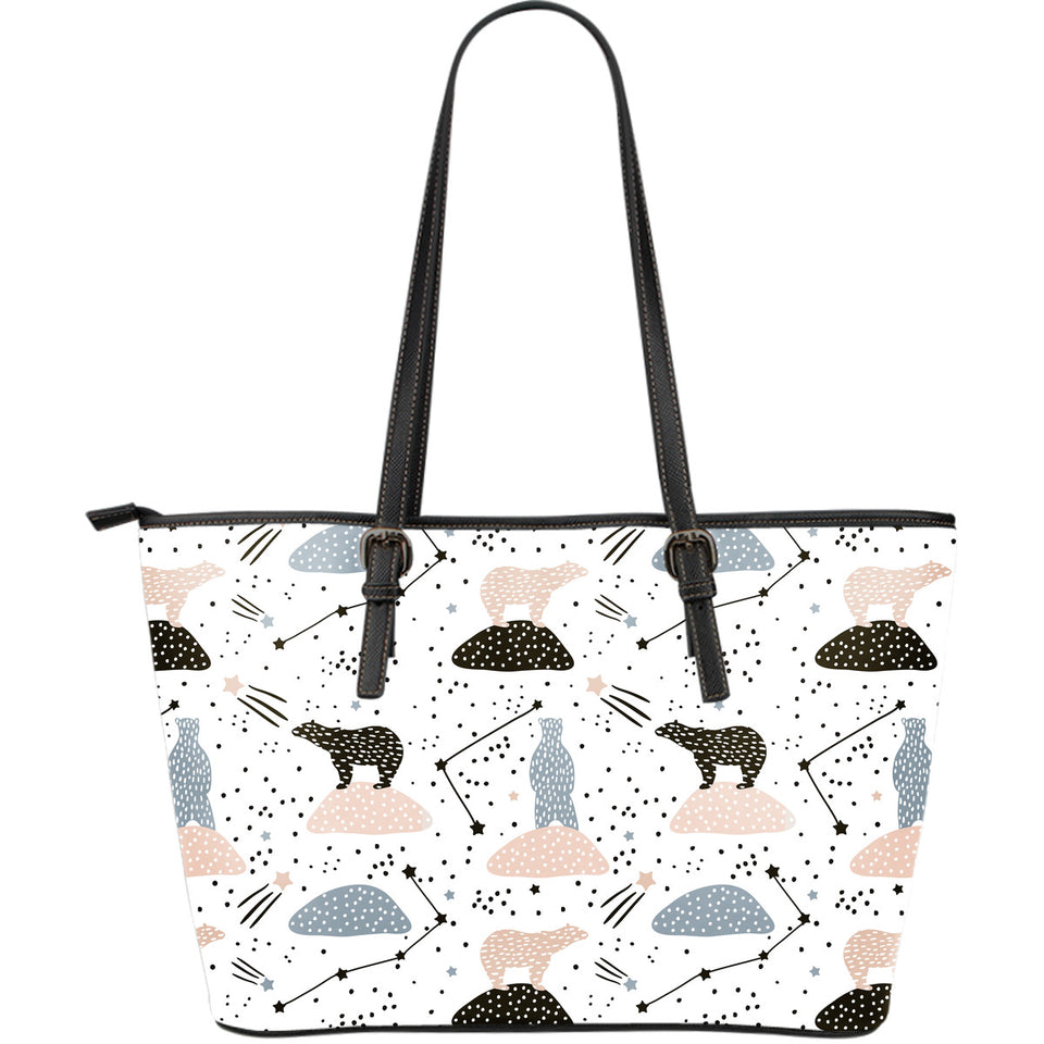 Polar Bears Star Poka Dot Pattern Large Leather Tote Bag