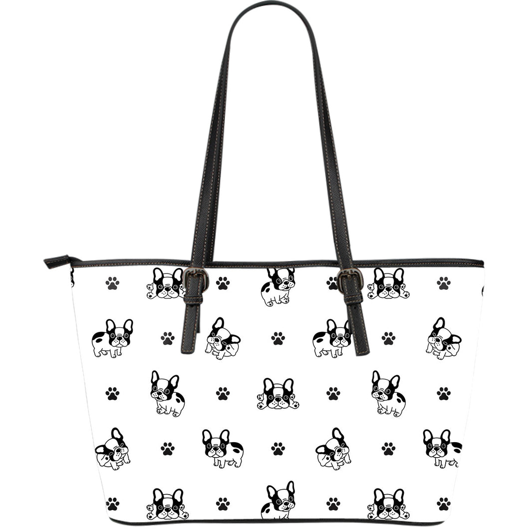Cute French Bulldog Paw Pattern Large Leather Tote Bag