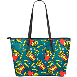 French Fries Red Paper Box Pattern Large Leather Tote Bag