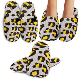 Gray Leopard Print Pattern Slippers