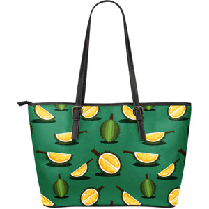 Durian Pattern Green Background Large Leather Tote Bag