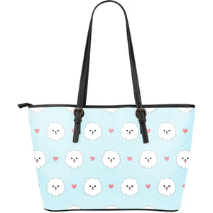 White cute pomeranian pattern Large Leather Tote Bag
