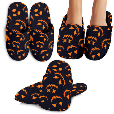 Halloween Pattern Pumpkin Background Slippers