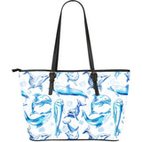 Watercolor Dolphin Pattern Large Leather Tote Bag