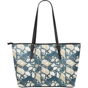 Shell Polynesian Tribal design pattern Large Leather Tote Bag