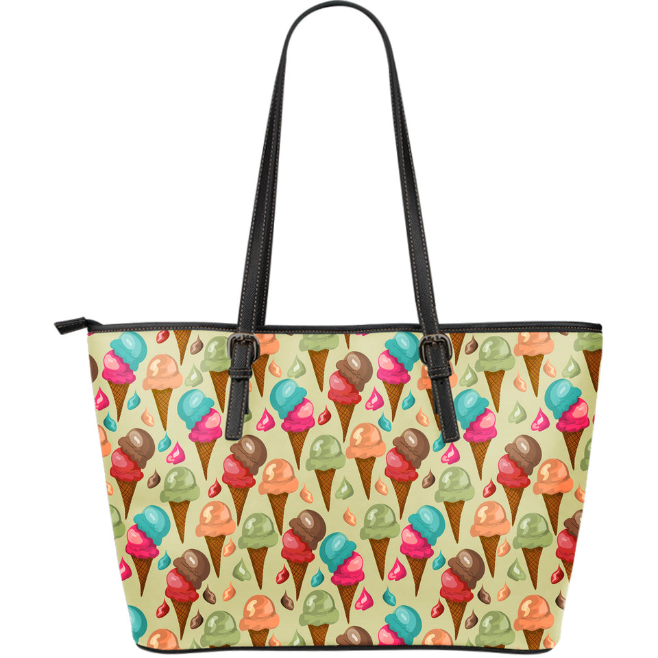 Colorful Ice Cream Pattern Large Leather Tote Bag