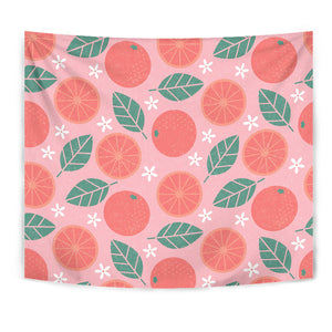 Grapefruit Leaves Flower Pink Background Wall Tapestry