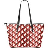 Fire Flame Symbol Design Pattern Large Leather Tote Bag