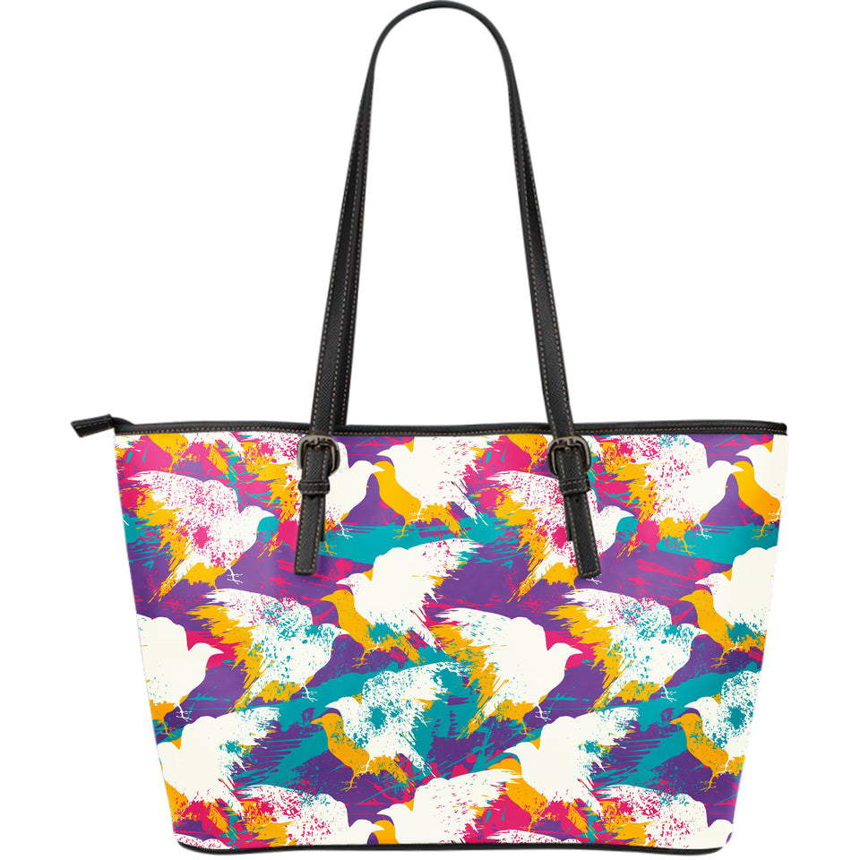 Colorful crow illustration pattern Large Leather Tote Bag