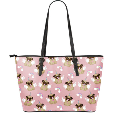 Cute unicorn pug pattern Large Leather Tote Bag